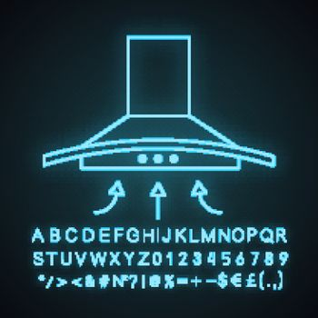 Range hood neon light icon. Kitchen extractor fan. Cooker hood. Kitchen exhaust. Household appliance. Glowing sign with alphabet, numbers and symbols. Vector isolated illustration