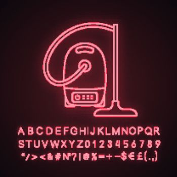 Vacuum cleaner neon light icon. Wet and dry vacuum. Household appliance. Glowing sign with alphabet, numbers and symbols. Vector isolated illustration