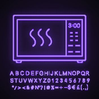 Microwave oven neon light icon. Electric oven. Food heating and preparation. Kitchen appliance. Glowing sign with alphabet, numbers and symbols. Vector isolated illustration