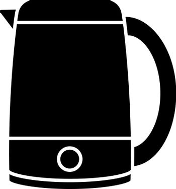 Electric kettle glyph icon. Hot water pot. Kitchen appliance. Silhouette symbol. Negative space. Vector isolated illustration