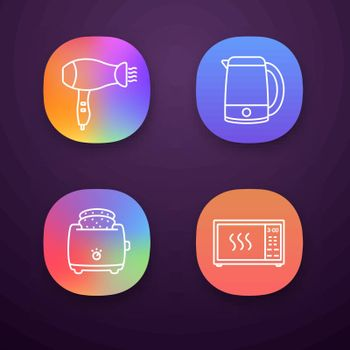 Household appliance app icons set. Hair dryer, electric kettle, slice toaster, microwave oven. UI UX user interface. Web or mobile applications. Vector isolated illustrations