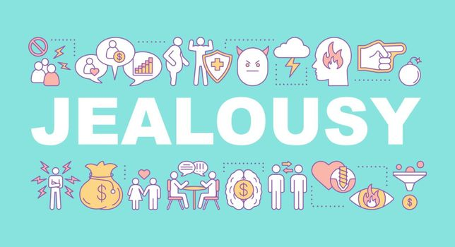 Jealousy word concepts banner. Break up. Presentation, website. Broken heart, betrayal, anger. Difficult relationships. Isolated lettering typography idea with linear icons. Vector outline illustration