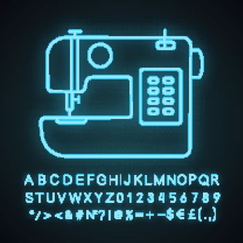 Sewing machine neon light icon. Tailoring. Glowing sign with alphabet, numbers and symbols. Vector isolated illustration