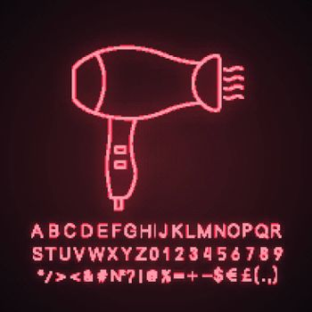 Hair dryer neon light icon. Hotel room, beauty salon hair blow dryer. Glowing sign with alphabet, numbers and symbols. Vector isolated illustration