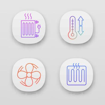 Air conditioning app icons set. Electric radiator, climate control, exhaust fan, heating element. UI UX user interface. Web or mobile applications. Vector isolated illustrations