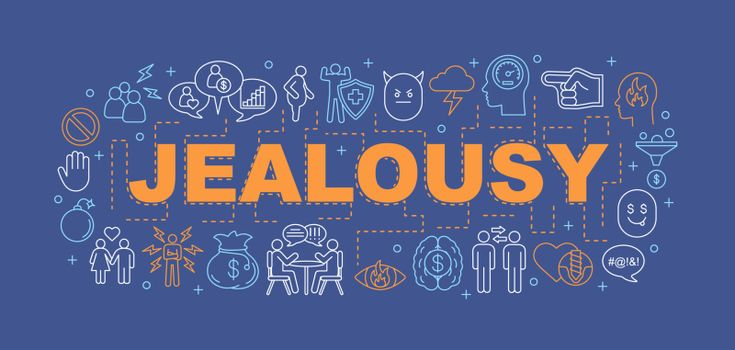Jealousy word concepts banner. Break up. Presentation, website. Broken heart, betrayal, anger. Difficult relationships. Isolated lettering typography idea with linear icon. Vector outline illustration