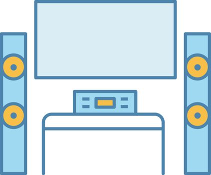 Home theater system with TV color icon. TV set with audio system. Home cinema. Television and loudspeakers. Household appliance. Isolated vector illustration