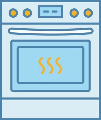 Kitchen stove color icon. Gas range cooker. Cooktop and oven. Kitchen appliance. Isolated vector illustration