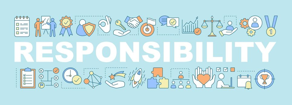 Responsibility word concepts banner. Goal achieving. Business development. Strategy building. Presentation, website. Purposes. Isolated lettering typography idea with linear icons. Vector outline illustration