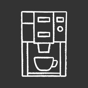 Coffee machine chalk icon. Electric coffeemaker. Coffee house or cafe appliance. Isolated vector chalkboard illustration