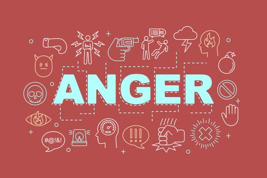 Anger word concepts banner. Presentation, website. Stress and burnout. Irritation. Isolated lettering typography idea with linear icons. Vector outline illustration