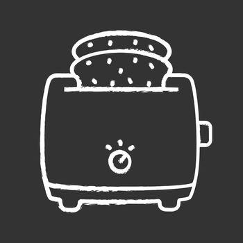 Slice toaster with toast chalk icon. Bread toaster. Kitchen appliance. Isolated vector chalkboard illustration