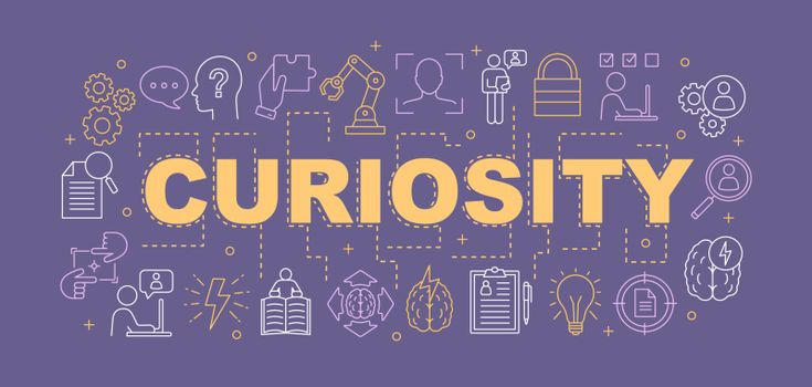 Curiosity word concepts banner. Presentation, website. Gain knowledge. Learning. Intelligence. Thinking. Broden mind. Isolated lettering typography idea with linear icons. Vector outline illustration