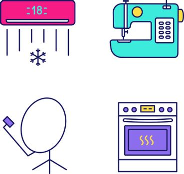 Household appliance color icons set. Air conditioner, sewing machine, satellite dish, kitchen stove. Isolated vector illustrations