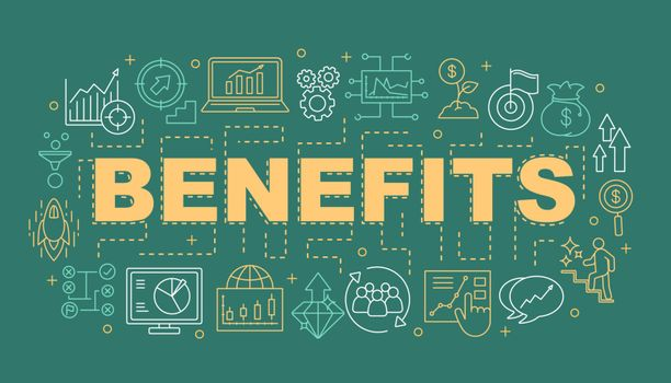 Benefits word concepts banner. Business development strategy. Profit growth. Presentation, website. Startup. Isolated lettering typography idea with linear icons. Vector outline illustration