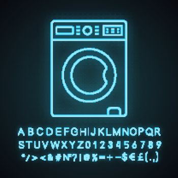 Washing machine neon light icon. Laundry machine. Washer. Household appliance. Glowing sign with alphabet, numbers and symbols. Vector isolated illustration