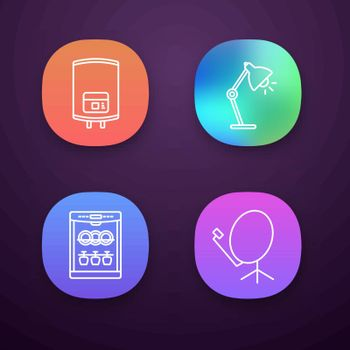 Household appliance app icons set. Electric water heater, table lamp, dishwasher, satellite dish. UI UX user interface. Web or mobile applications. Vector isolated illustrations