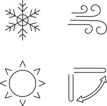 Air conditioning linear icons set. Snowflake, airflow, sun, air conditioner louvers. Thin line contour symbols. Isolated vector outline illustrations. Editable stroke