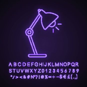 Table lamp neon light icon. Desk lamp. Glowing sign with alphabet, numbers and symbols. Vector isolated illustration