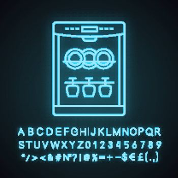 Dishwasher neon light icon. Automatic dishware and cutlery cleaning. Kitchen appliance. Restaurant, cafe equipment. Glowing sign with alphabet, numbers and symbols. Vector isolated illustration
