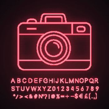 Photo camera neon light icon. Photography. Taking pictures. Glowing sign with alphabet, numbers and symbols. Vector isolated illustration