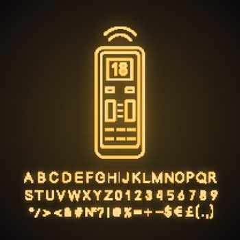 Air conditioner remote control neon light icon. Glowing sign with alphabet, numbers and symbols. Vector isolated illustration