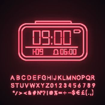 Digital alarm clock neon light icon. Electronic clock. Digital alarm watch. Glowing sign with alphabet, numbers and symbols. Vector isolated illustration