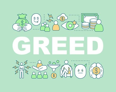 Greed word concepts banner. Pride. Presentation, website. Avarice. Isolated lettering typography idea with linear icons. Vector outline illustration