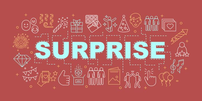 Surprise word concepts banner. Holiday celebration. Birthday party. Presentation, website. Isolated lettering typography idea with linear icons. Vector outline illustration
