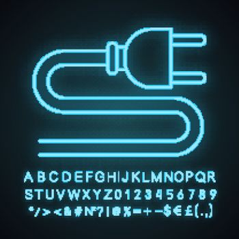 Electric plug neon light icon. Wiring. Power cable with plug. Glowing sign with alphabet, numbers and symbols. Vector isolated illustration