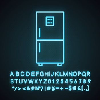 Fridge neon light icon. Refrigerator. Freezer. Kitchen appliance. Glowing sign with alphabet, numbers and symbols. Vector isolated illustration