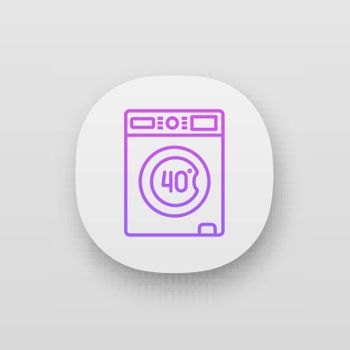 Machine washable at 40 degree app icon. Machine wash. Gentle cycle. Washing at forty Celsius degree. Washable mattress cover. UI UX interface. Web or mobile application. Vector isolated illustration