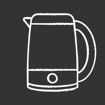 Electric kettle chalk icon. Hot water pot. Kitchen appliance. Isolated vector chalkboard illustration