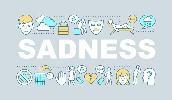 Sadness word concepts banner. Depression and fatigue. Presentation, website. Isolated lettering typography idea with linear icons. Vector outline illustration