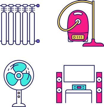 Household appliance color icons set. Radiator, vacuum cleaner, floor fan, home theater with TV. Isolated vector illustrations