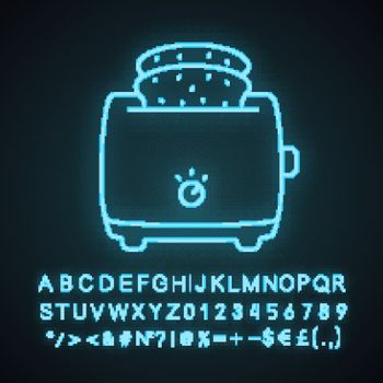 Slice toaster with toast neon light icon. Bread toaster. Kitchen appliance. Glowing sign with alphabet, numbers and symbols. Vector isolated illustration