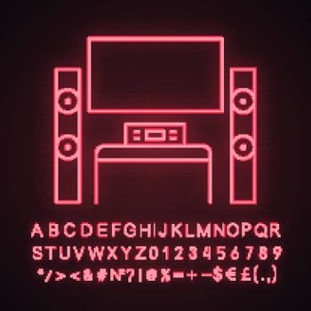 Home theater system with TV neon light icon. TV set with audio system. Home cinema. Television and loudspeakers. Glowing sign with alphabet, numbers and symbols. Vector isolated illustration