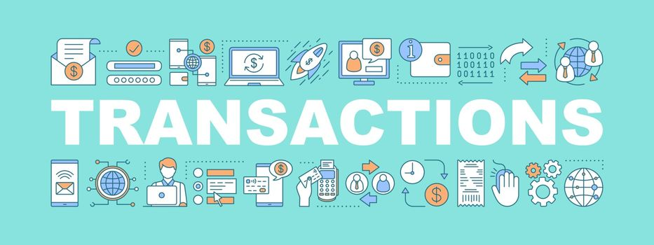 Transactions word concepts banner. Financial management. Payment, e-commerce, banking. Presentation, website concept. Isolated lettering typography idea with linear icons. Vector outline illustration