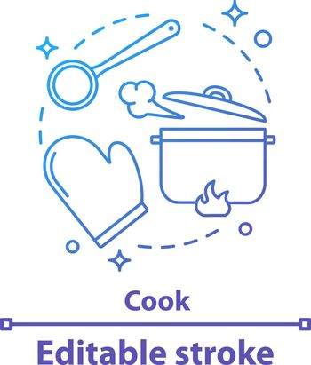 Cooking process concept icon. Meal preparation idea thin line illustration. Kitchen. Vector isolated outline drawing. Editable stroke