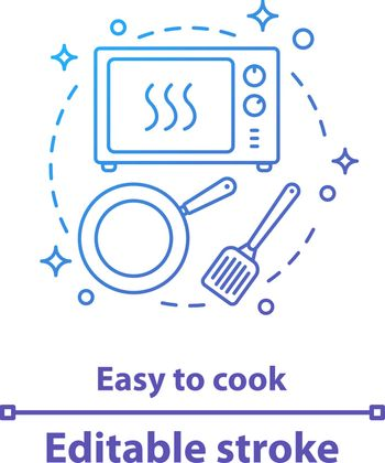 Easy to cook concept icon. Meal preparation idea thin line illustration. Kitchen. Vector isolated outline drawing. Editable stroke