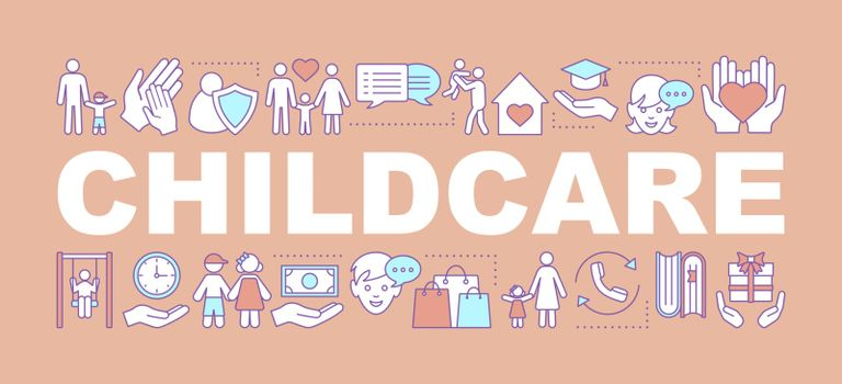 Childcare word concepts banner. Childhood. Parenting. Fatherhood and motherhood. Isolated lettering typography idea with linear icons. Vector outline illustration