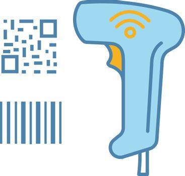 Barcode and QR code scanner color icon. Wifi linear and matrix barcodes handheld reader. QR codes and traditional barcodes reading device. Store, shop, supermarket. Isolated vector illustration