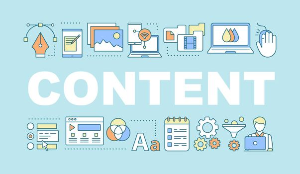 Content word concepts banner. Blogging, vlogging. Presentation, website. Social media. SMM. Isolated lettering typography idea with linear icons. Vector outline illustration