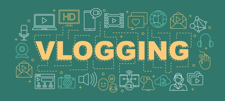 Vlogging word concepts banner. Video hosting. Presentation, website. Streaming. Video content sharing. Isolated lettering typography idea with linear icons. Vector outline illustration