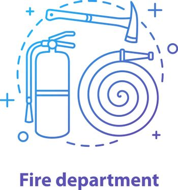 Fire department concept icon. Firefighting idea thin line illustration. Fire extinguisher, hose, axe. Vector isolated outline drawing