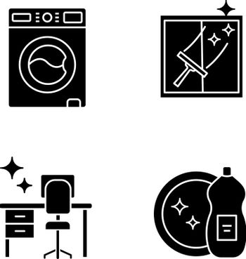 Cleaning service glyph icons set. Washing machine, window cleaning, tidy table, dishwashing liquid. Silhouette symbols. Vector isolated illustration