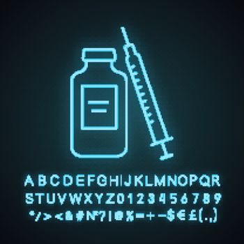 Medicine vial and syringe neon light icon. Neurotoxin injection. Medications. Glowing sign with alphabet, numbers and symbols. Vector isolated illustration