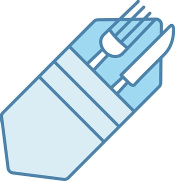 Fork and knife in napkin color icon. Cutlery. Table setting. Etiquette. Business lunch rules. Restaurant, cafe. Isolated vector illustration