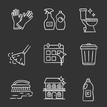 Cleaning service chalk icons set. Household gloves, detergents, tidy toilet, broom, schedule, garbage bin, scrub brush, house cleaning. Isolated vector chalkboard illustrations