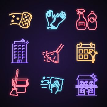 Cleaning service neon light icons set. Sponge, household gloves, detergents, sweeping broom and bucket, schedule, napkin, houses and offices cleaning. Glowing signs. Vector isolated illustrations